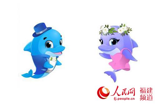 活泼可爱的海豚造型,搭配富有福州特色的茉莉花装饰,吸引了不少市民