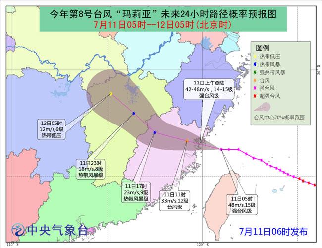 """台风""""玛莉亚""""即将在霞浦到连江沿海登陆 预计在9~10时"""